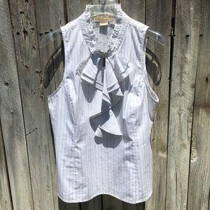 NWT MICHAEL Michael Kors Striped Ruffle Shirt 14